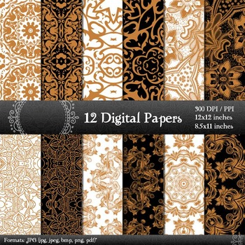 Scrapbook Fabric Ornate Henna Lot Textile Scrap Book 12x12 + 8.5x11 Inch A4 Lace