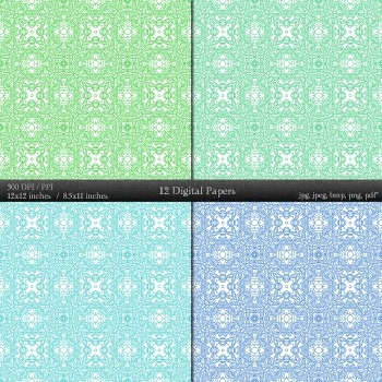 Scrapbook Henna  12 X 12 + 8.5 X 11 Premade Paper Scrapbook Jpg Printable Flower