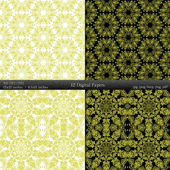 Scrapbook Lot Premade Mandala Textile Indian Fabric  12 X 12 + 8.5 X 11 Page A4