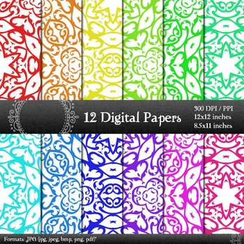 Scrapbook Pack Digital  Decoration Lot Pattern Collag Sheet Premade Kit Corner