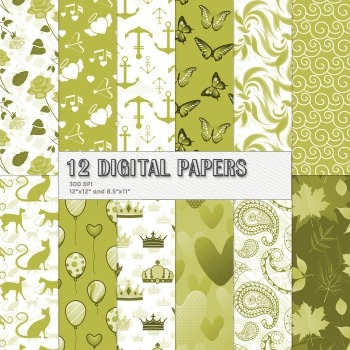 Scrapbook Paper 12x12 + 8.5x11 Inch Lovely Premade Butterf