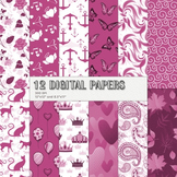Scrapbook Paper Flower Digital 12x12 + 8.5x11 Inch Card 12 X 12 8 5 X 11 Anchor