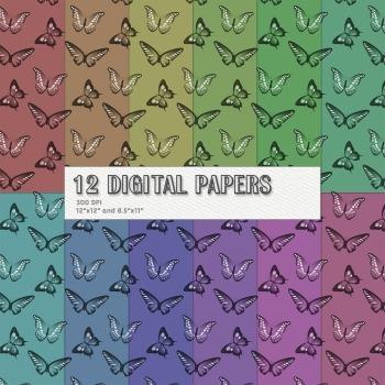 Scrapbook Paper Pattern Event Jpeg Butterflies Jpg Summer Celebrate Set Premade
