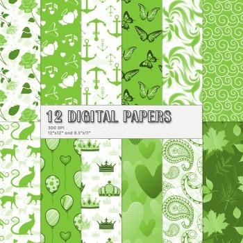 Scrapbook Paper Pyssycat 12x12 + 8.5x11 Inch Kit Spring Tr