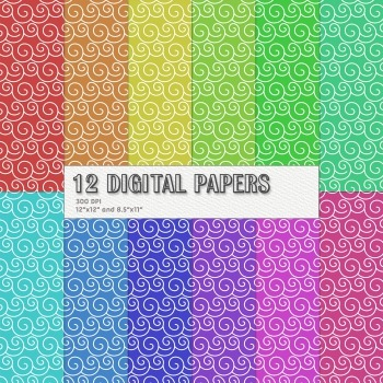 Scrapbook Paper Sheet Digital Clipart Kit Summer Decoration Set Event Birthday