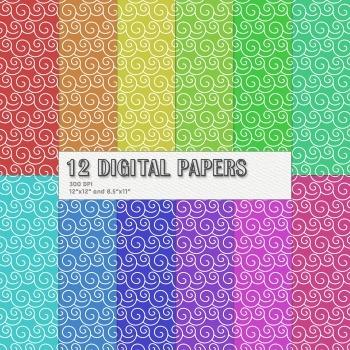 Scrapbook Paper Sheet Digital Clipart Kit Summer Decoratio
