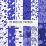 Scrapbook Paper Silhouette Cat Crown Book Collag Template Wave Marine Monarch A4