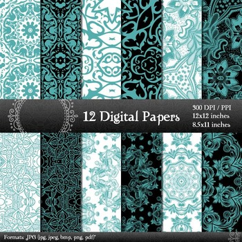 Scrapbook Piecing Ornate Embroidery Style Damask Page Layout Vintage Scrap Book