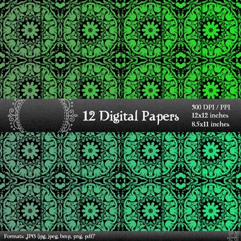 Scrapbook Premade Paper 12x12 + 8.5x11 Inch Journal Kit Damask Page Pattern A4