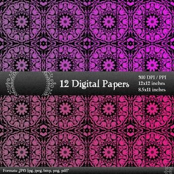 Scrapbook Printable Jpg Retro Template Instant Download 12x12 + 8.5x11 Inch Book