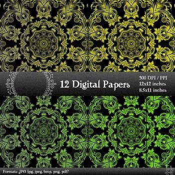Scrapbook Sheet Pack Paper Instant Download Jpg Art Album Lot Retro Set Ornate