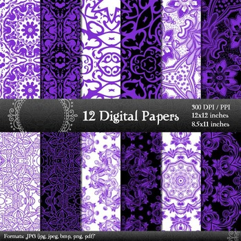 Scrapbook Sheet Set Printable A4 Style Variety Retro Embellishment Indian Damask