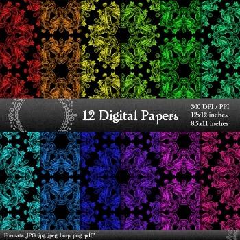 Scrapbook Texture Template Printable  12 X 12 + 8.5 X 11 P