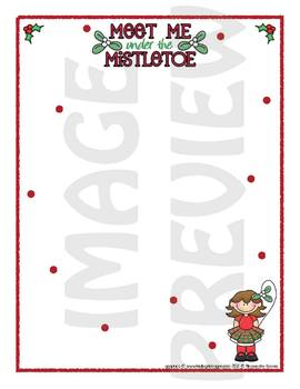 Scrapbook - Yearbook Page: Christmas 8 Girl With Mistletoe