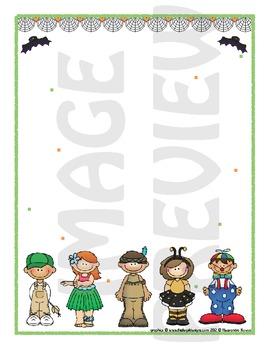 Scrapbook - Yearbook Page: Halloween 7 Kids in Costumes 2