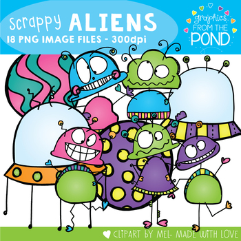 Scrappy Aliens Clipart