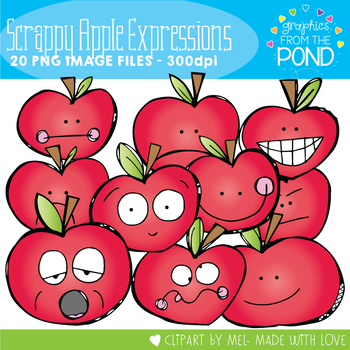 Scrappy Apple Expressions Clipart