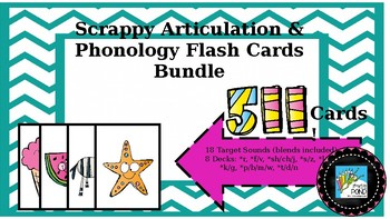 Scrappy Articulation and Phonology Flash Cards Bundle: 396