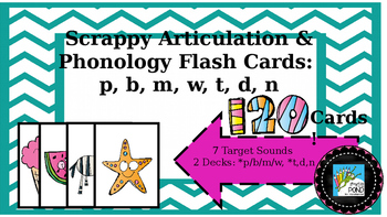 Scrappy Articulation and Phonology Flash Cards: P B M W T D N