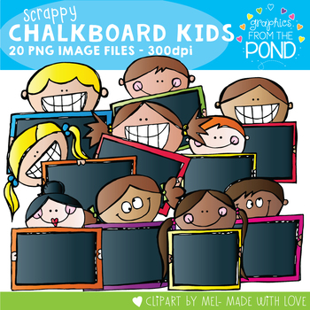 Scrappy Blackboard Kids - Clipart for Teachers and Teaching