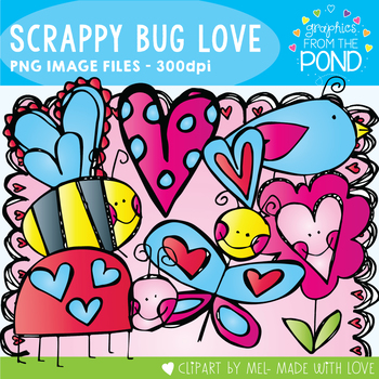 Scrappy Bug Love -  Clipart Pack!