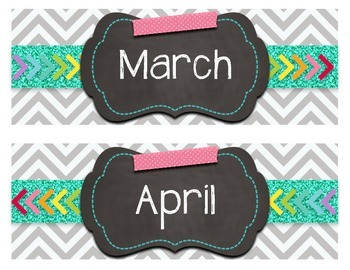 Scrappy Chevron Months of the Year Calendar Header Signs