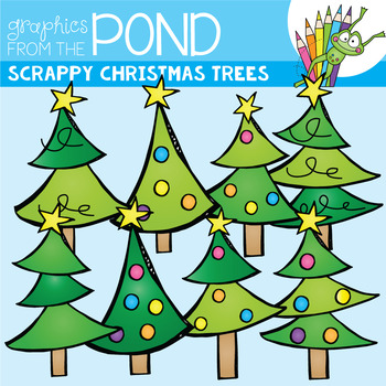 Christmas Tree Clipart {Scrappy Christmas Trees}