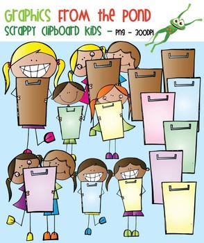 Scrappy Clipboard Kids Clipart