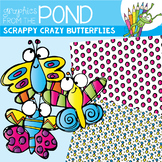 Scrappy Crazy Butterflies -  Clipart Pack!