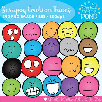 Scrappy Emotion Faces Clipart Super Set