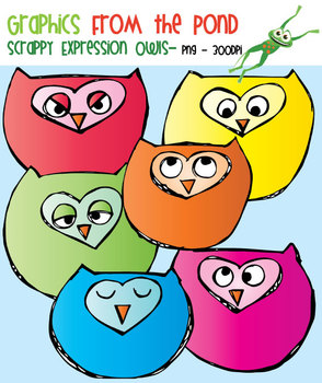 Scrappy Expression Owls Clipart