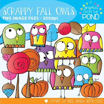 Scrappy Fall Owls Clipart