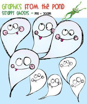 Scrappy Ghosts -  Clipart for Teachers and Halloween
