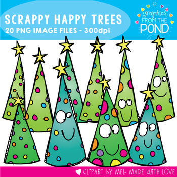 Scrappy Happy Christmas Tree Clipart Set