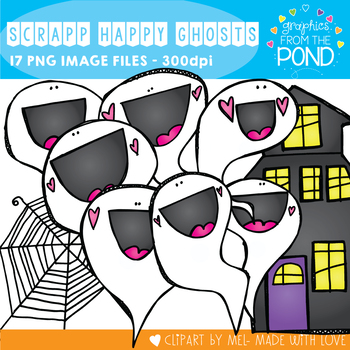 Scrappy Happy Ghosts Clipart