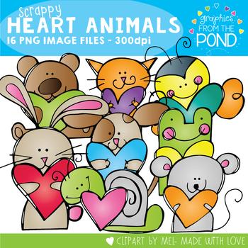 Scrappy Heart Animals Clipart Set