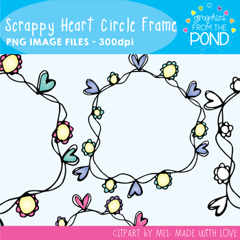 Scrappy Heart Flower Circle Frames