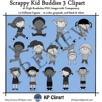 Scrappy Jumping Kid Buddies 3 Clipart