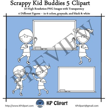 Scrappy Kid Buddies 5 with Whiteboards Clipart