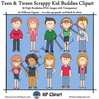 Scrappy Kid Buddies 8 Teens and Tweens Clipart