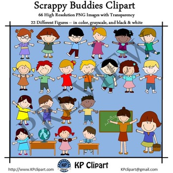 Scrappy Kid Buddies and Teacher Clipart