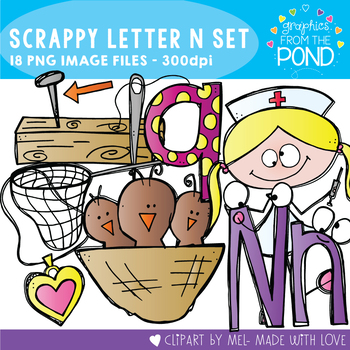 Scrappy Letter N Clipart