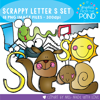 Scrappy Letter S Alphabet Clipart