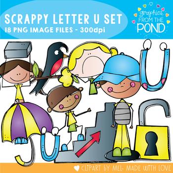 Scrappy Letter U Alphabet Clipart