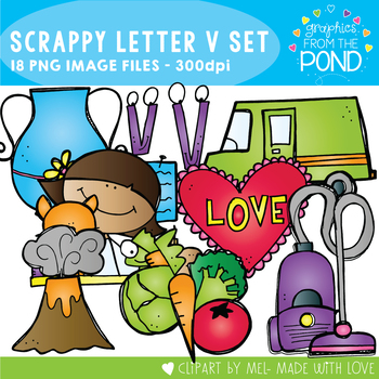 Scrappy Letter V Alphabet Clipart