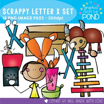 Scrappy Letter X Alphabet Clipart
