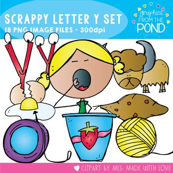 Scrappy Letter Y Alphabet Clipart