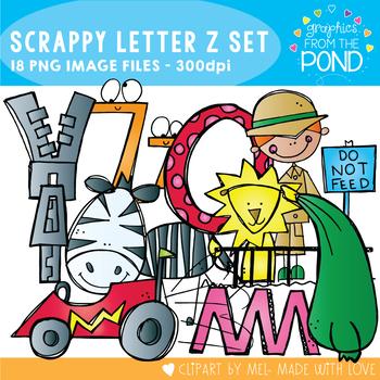 Scrappy Letter Z Alphabet Clipart