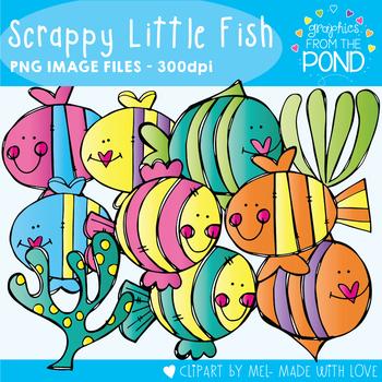 Scrappy Little Fish Clipart Set