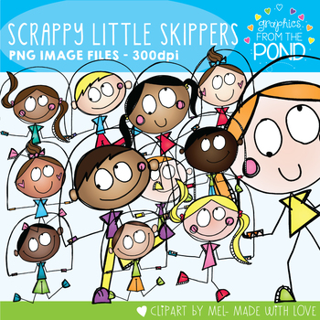 Scrappy Little Skippers - Skipping Kids Clipart